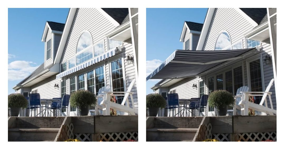 Side-by-side comparison of a home's deck with a blue and white striped retractable awning by Screenmobile.